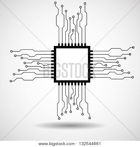 Cpu. Microprocessor. Microchip. Abstract technology symbol circuit board