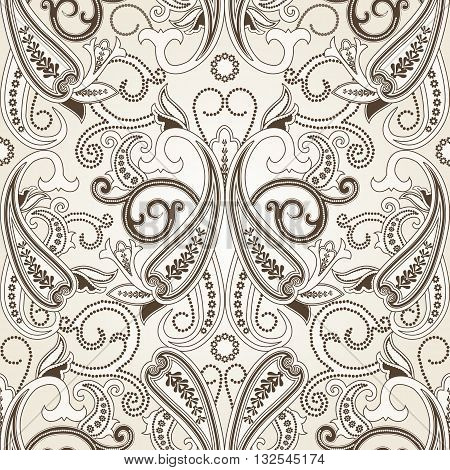 Seamless pattern with paisley.FLoral background.Traditional oriental filigree ornament.Vector illustration.