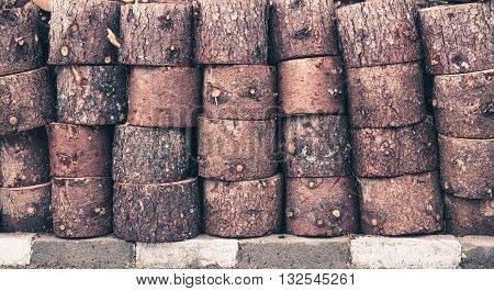 Rows Of Cut Timber Logs
