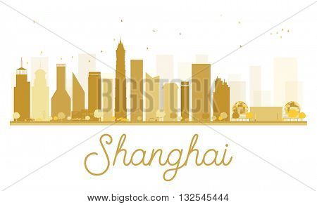 Shanghai City skyline golden silhouette. Vector illustration. Simple flat concept for tourism presentation, banner, placard or web site. Shanghai isolated on white background