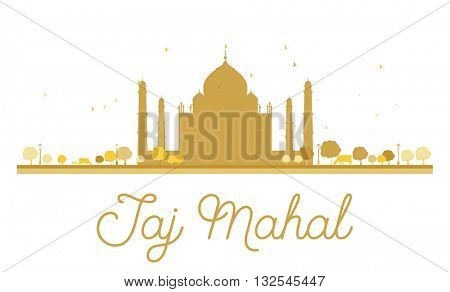 Taj Mahal golden silhouette. Vector illustration. Simple flat concept for tourism presentation, banner, placard or web site. Taj Mahal isolated on white background