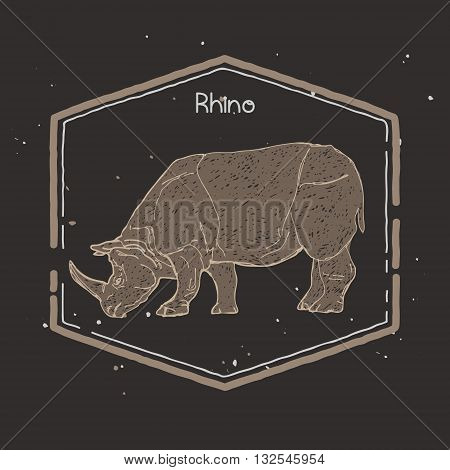 hand drawn silhouette of mighty wild animal, giant rhino
