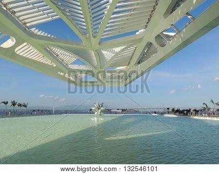 View of the back lake and solar panels of the Museum of Tomorrow at Praça Maua (Maua Pier), Rio de Janeiro, Brazil