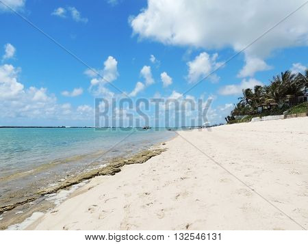 Barra de São Miguel is a white sanded beach in Alagoas, Maceio, Brazil, protected by a rock barrier.