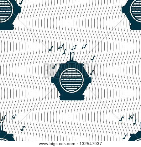 Old Analog Radio Icon Sign. Seamless Pattern With Geometric Texture. Vector