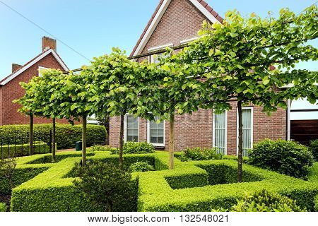 Decorative green buxus bushes and trees in front of a beautiful house in the Netherlands