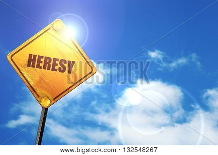heresy, 3D rendering, glowing yellow traffic sign