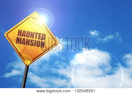 haunted mansion, 3D rendering, glowing yellow traffic sign