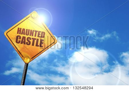 haunted castle, 3D rendering, glowing yellow traffic sign