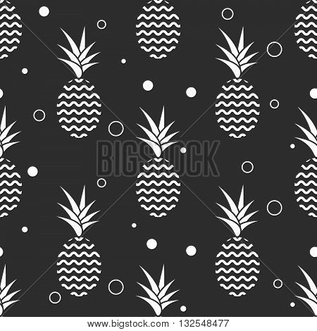 Pineapple simple vetor seamless background. Textile fabric ananas monochrome grey pattern. Baby simple scandinavian style apparel and linen design.