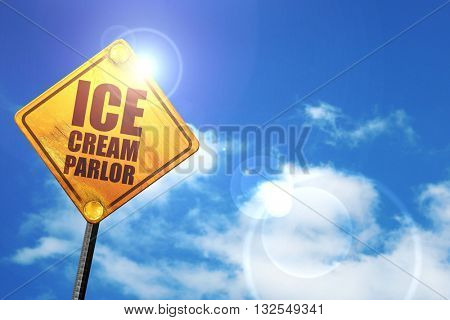ice cream parlor, 3D rendering, glowing yellow traffic sign
