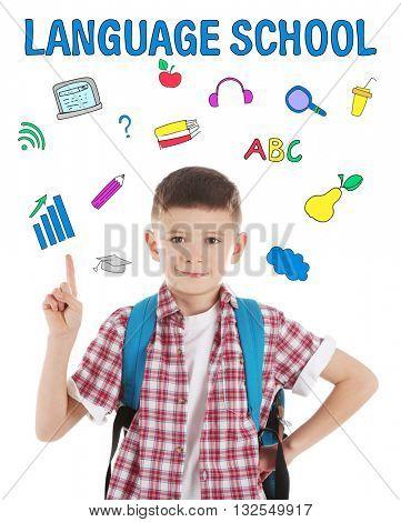 Language school concept with schoolboy