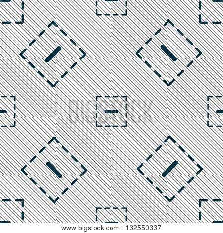 The Minus In A Square Icon Sign. Seamless Pattern With Geometric Texture. Vector