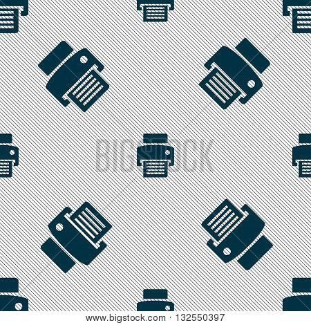 Fax, Printer Icon Sign. Seamless Pattern With Geometric Texture. Vector