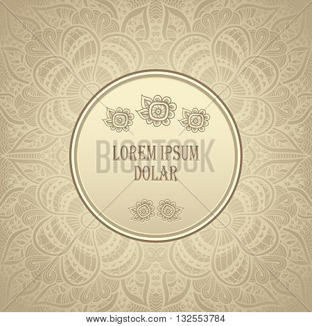 Template package background with Zen-doodle  Zen-tangle  pattern in gold colors for congratulation or invitation or for advertising different things