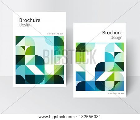 Green brochure cover template. design creative concept cover for catalog, report, brochure, poster. Blue and green abstract geometric shapes. vector-stock EPS 10.