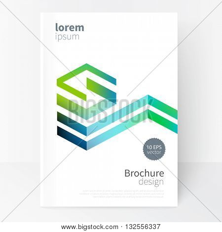Creative concept design element. Vector set abstract geometric background blue and  green Diagonal lines Modern White business brochure cover template