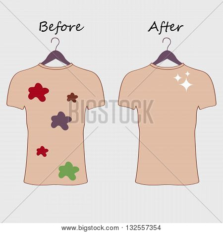 Dirty and clean t-shirt. Befor cleaning and after cleaning t-shirt. Stained t-shirt. Different types of stains. Dry cleaning concept.