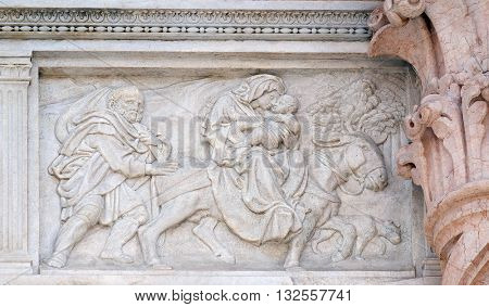 BOLOGNA, ITALY - JUNE 04: Flight to Egypt, relief on portal of Saint Petronius Basilica in Bologna, Italy, on June 04, 2015