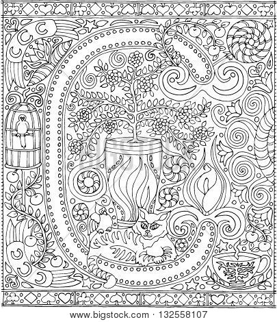 Adult Coloring Book Poster Alphabet Letter C Black and White Vector Illustration