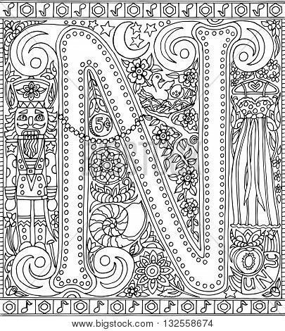 Adult Coloring Book Poster Alphabet Letter N Black and White Vector Illustration
