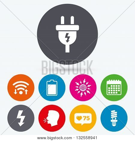 Wifi, like counter and calendar icons. Electric plug icon. Fluorescent lamp and battery symbols. Low electricity and idea signs. Human talk, go to web.