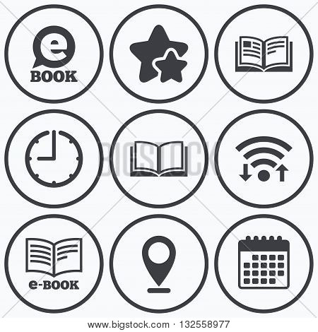 Clock, wifi and stars icons. Electronic book icons. E-Book symbols. Speech bubble sign. Calendar symbol.