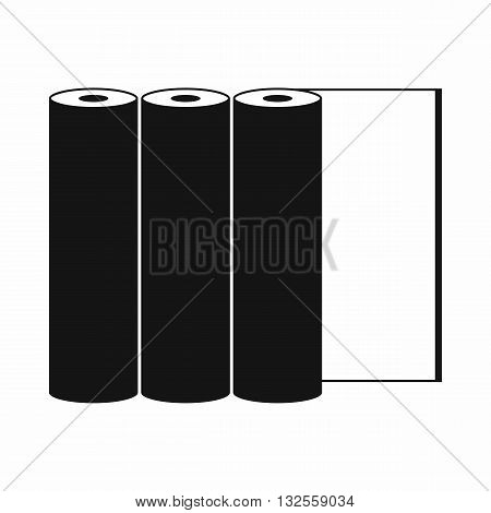 Rolls of paper icon in simple style on a green background