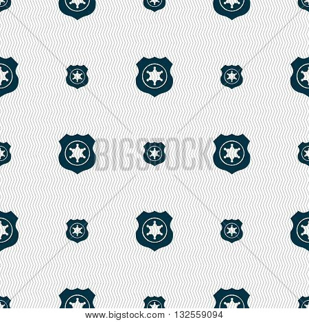 Sheriff, Star Icon Sign. Seamless Pattern With Geometric Texture. Vector