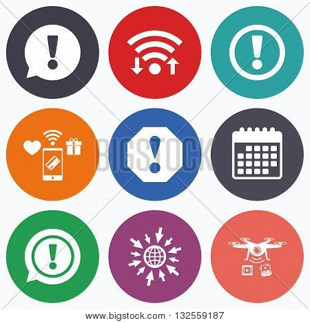 Wifi, mobile payments and drones icons. Attention icons. Exclamation speech bubble symbols. Caution signs. Calendar symbol.