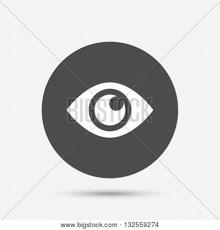 Eye sign icon. Publish content button. Visibility. Gray circle button with icon. Vector