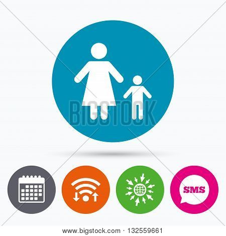 Wifi, Sms and calendar icons. One-parent family with one child sign icon. Mother with son symbol. Go to web globe.