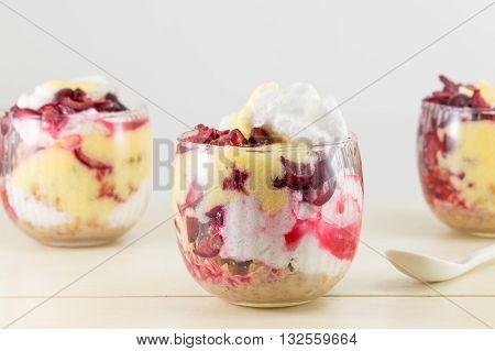 Homemade Granola Parfait With Cherries And Cream