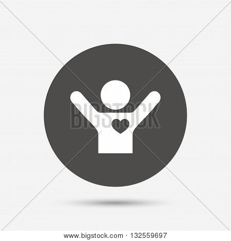 Fans love icon. Man raised hands up sign. Gray circle button with icon. Vector