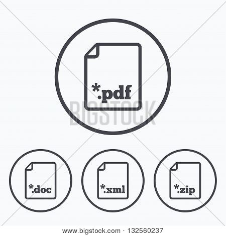 Download document icons. File extensions symbols. PDF, ZIP zipped, XML and DOC signs. Icons in circles.