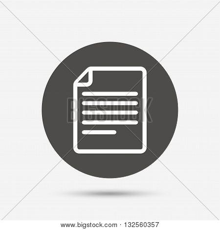 File document icon. Download doc button. Doc file symbol. Gray circle button with icon. Vector