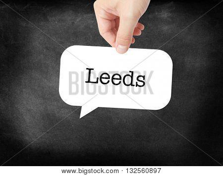 Leeds - the city - written on a speechbubble