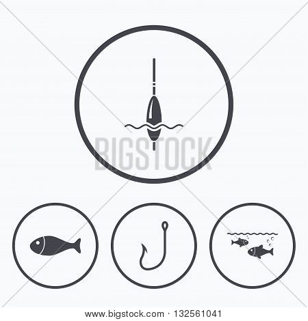 Fishing icons. Fish with fishermen hook sign. Float bobber symbol. Icons in circles.