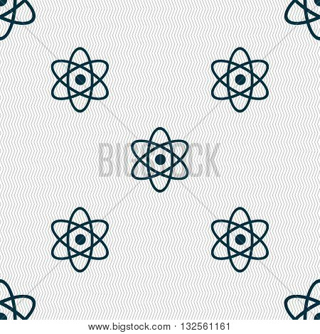 Atom, Physics Icon Sign. Seamless Pattern With Geometric Texture. Vector