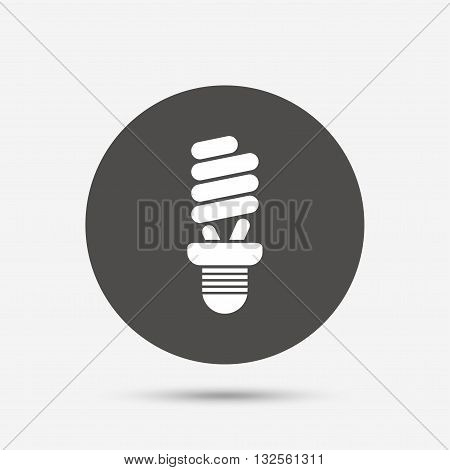 Fluorescent lamp bulb sign icon. Energy saving. Idea and success symbol. Gray circle button with icon. Vector