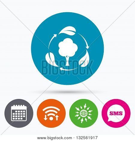 Wifi, Sms and calendar icons. Fresh air sign icon. Forest tree with leaves symbol. Go to web globe.