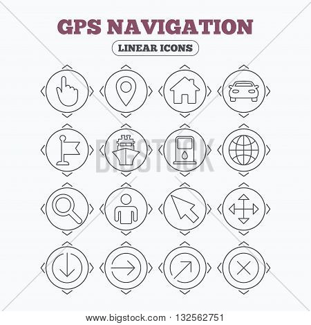 Linear icons with direction arrows. GPS navigation icons. Car and Ship transport. You are here, map pointer symbols. Search gas or petrol stations, hotels. Circle buttons.