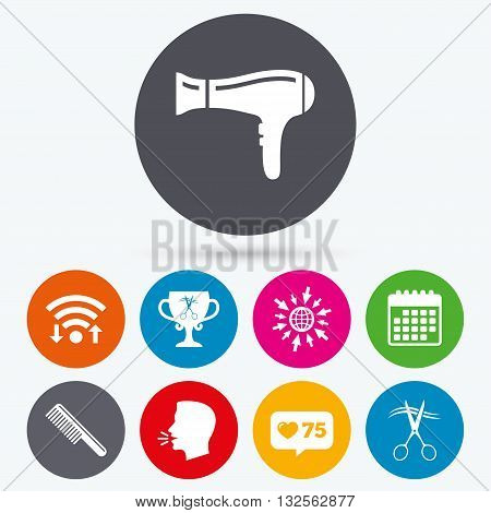 Wifi, like counter and calendar icons. Hairdresser icons. Scissors cut hair symbol. Comb hair with hairdryer symbol. Barbershop winner award cup. Human talk, go to web.