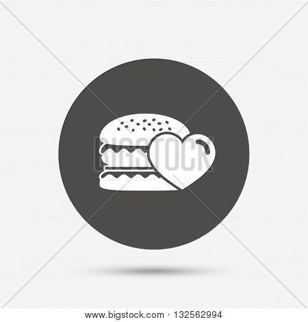 Hamburger icon. Burger food symbol. Cheeseburger sandwich sign. Gray circle button with icon. Vector