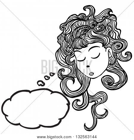 sleepy girl with thought bubble cartoon