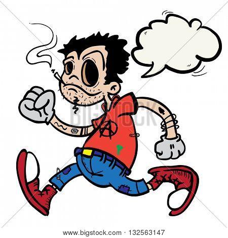 punk boy with speech bubble cartoon