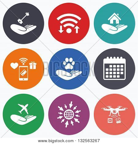 Wifi, mobile payments and drones icons. Helping hands icons. Shelter for dogs symbol. Home house or real estate and key signs. Flight trip insurance. Calendar symbol.