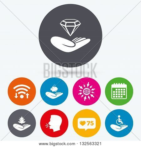 Wifi, like counter and calendar icons. Helping hands icons. Protection and insurance symbols. Financial money savings, save forest. Diamond brilliant sign. Disabled human. Human talk, go to web.