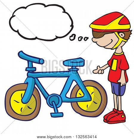 boy with thought bubble and his bicycle cartoon