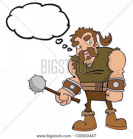 cartoon barbarian with thought bubble isolated on white